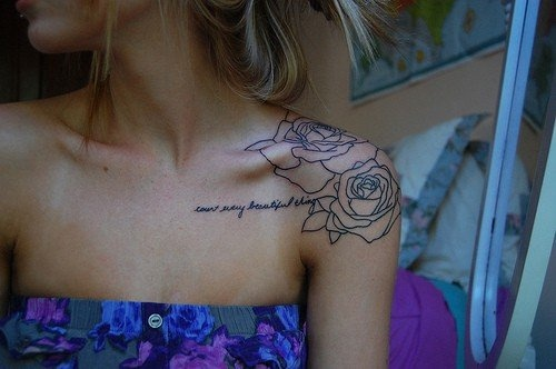 "Similar to what I want for my Kurt Vonnegut/Tennessee Williams tattoo. There would me more roses extending further down and capping my shoulder. They would be more detailed and colored blue, and the quote would say ""So it goes..."""