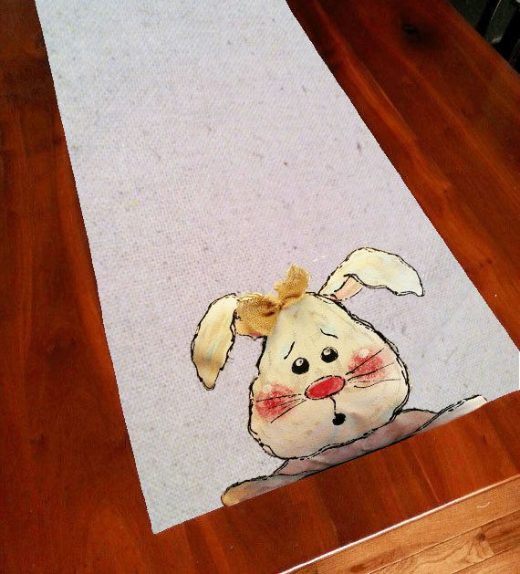 Table Runner, Easter Rabbit with Burlap Bow, Spring, Summer, Holiday, Handmade, Hand-painted 18 x 62 Medium-weight cotton canvas fabric. Great for your everyday and holiday decorating.