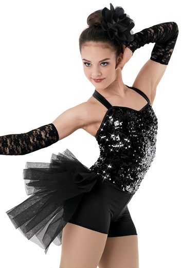 """Black Sequined Halter-Style Bodice and Bubble Skirt with Lace Gloves and Flower for Hair - """"Stuff Like That There"""""""