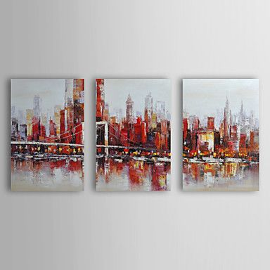 Hand Painted Oil Painting Landscape City in Sunset with Stretched Frame Set of 3 – USD $ 89.99