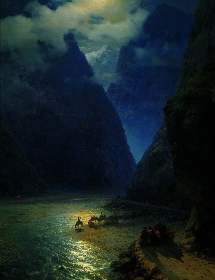 Ivan Aivazovsky (Иван Константинович Айвазовский, Russian/Armenian 1817-1900) Darial Gorge, 1862