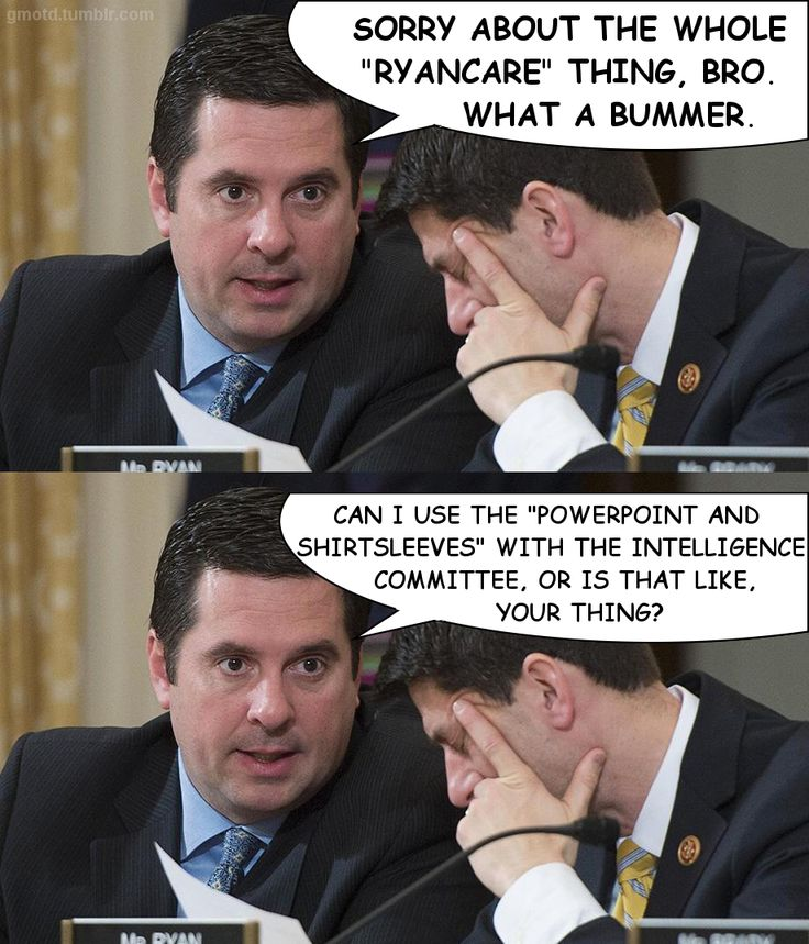 House of Memes (gmotd.tumblr.com)2017-04-03Does anyone still remember the spectacular failure of TrumpCare, aka RyanCare? California congressman Devin Nunes is now a household name, and not for good reasons.  He is the chair of the House Intelligence Committee, which supposedly is investigating The Shady Bunch. But he is behaving more like an agent of the administration. Fortunately, the Senate Intelligence Committee is led by grownups who are doing their job, and acting in a bipartisan…