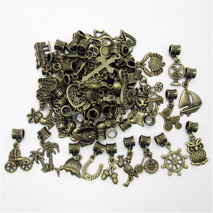 Mix verschillende 50 stks brons bead fit voor pandora style armband diy hanger dier charmes voor hangers sieraden maken