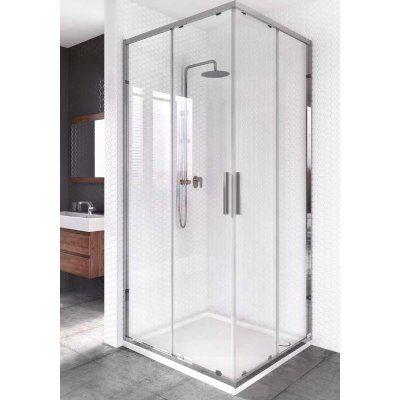 Minimalistyczna kabina prysznicowa z dużymi taflami przezroczystego szkła i chromowanymi elementami podkreśli industrialny design łazienki / seria Arkansas - Aquaform