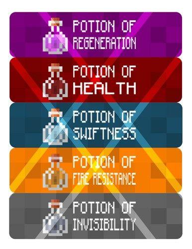 Mine Party Potion Labels Water Bottle Labels Digital File   cherrybonbons - Digital Art on ArtFire