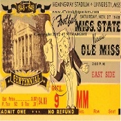 1948 Mississippi State vs. Ole Miss Football Ticket Coasters™. Football Christmas gifts made from authentic game tickets. Perfect stocking stuffer for football fans! #47straight