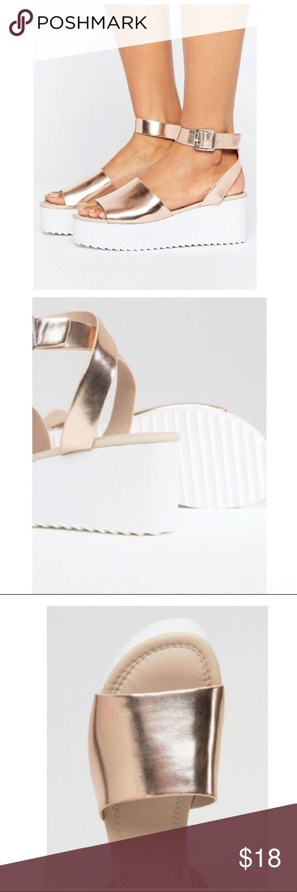"ASOS Take Off ASOS Take Off-Wedge by ASOS Collection. Ankle-strap fastening, open toe, mid flat form heel. Heel height 3"". Worm once, please see picture for wear. Can be wiped clean, does not come with box. Please be familiar w/ASOS UK/US sizing. ❌NO TRADES/PAYPLA or MODELING❌ ASOS Shoes Sandals"