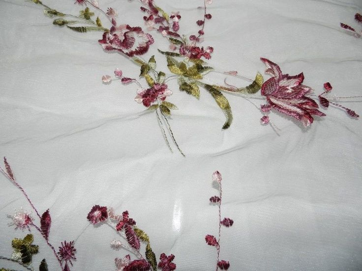 Sheer floral shawl or table runner