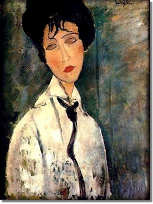 Kobieta w czarnym krawacie - Amadeo Modigliani - Obrazy olejne i dekoracje na ścianę - RamaRama.pl