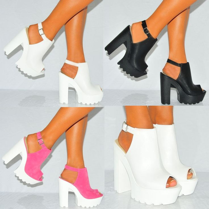 Women Cleated Sole High Heel Chunky Platform Boots Sandals Shoes Size #Unbranded #Slingbacks