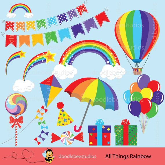 Rainbow Clipart Rainbow Clip Art Rainbow by doodlebeestudios