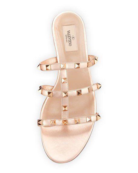 f8732e2723 Valentino Garavani Rockstud Metallic City Flat Slide Sandals ...