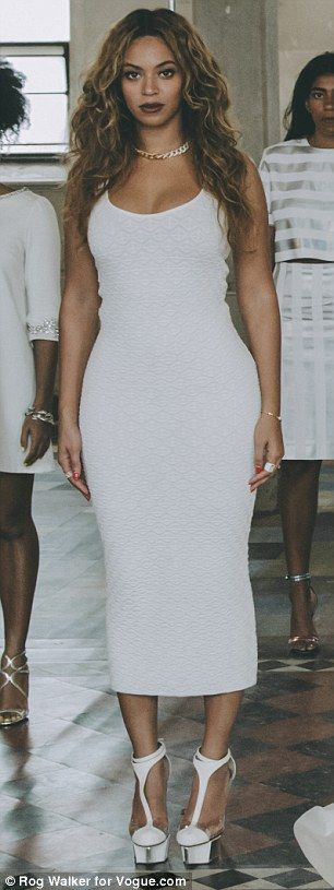 Glow in a white textured midi dress like Beyonce #DailyMail