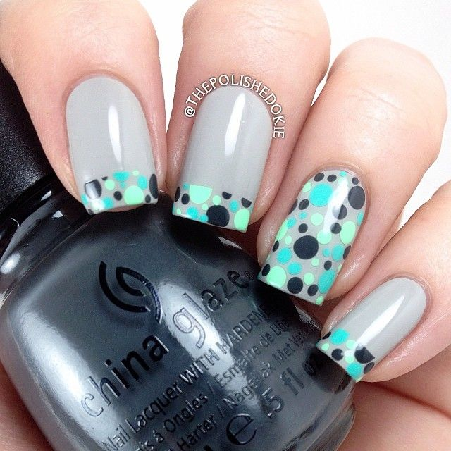 """#31DNAC Day 11: Polka Dots! Grey base is the gorgeous ""Lincoln Road"" by #squarehue. For the dots, I used #chinaglaze ""Concrete Catwalk"" (dark grey),…"""
