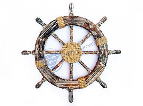 """24"""" Nautical Antique Grey White Ship Wheel With Center Mo... http://www.amazon.com/dp/B01FKFGC1A/ref=cm_sw_r_pi_dp_EVEoxb1M1244Q"""