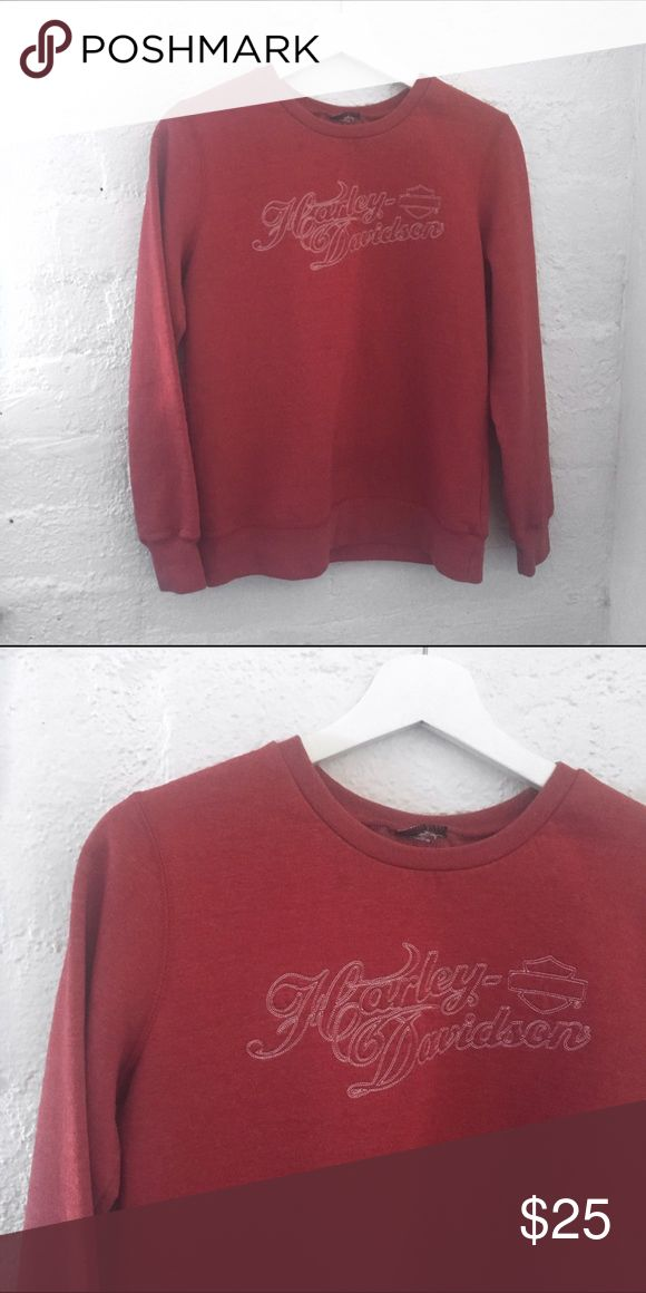 HARLEY DAVIDSON Sweatshirt Crewneck  Long sleeve  Red with white threading  100% Cotton  Size: Small    Condition: No stains, wear or tear.   ☑️No Pets  ☑️Non-Smoking home  ☑️Every item steamed throughly before shipped!  💌 Ships from Santa Monica, CA  🗝Follow me on Instagram! @koukil1908 ask to have a video of the item ✌️ Harley-Davidson Tops Sweatshirts & Hoodies
