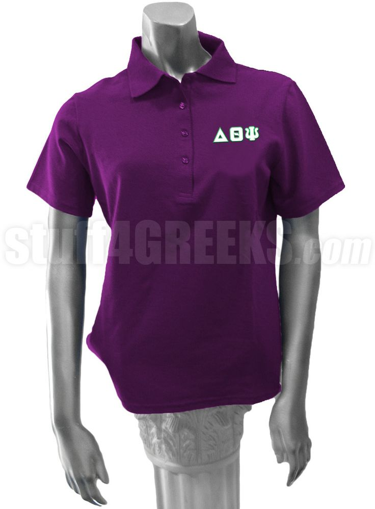 Purple Delta Theta Psi polo shirt with the Greek letters on the left breast.