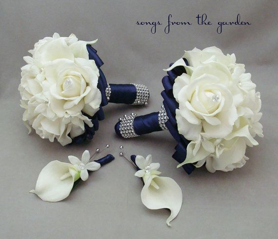 Navy Wedding Flower Package Bridesmaid by   SongsFromTheGarden