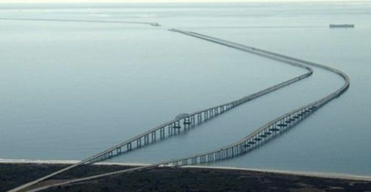 Crossing the Chesapeake Bay is something that many people have to do every day. The main route across is the massive Chesapeake Bay Bridge. This is no normal bridge. The Chesapeake Bay Bridge can rise to more than 200 feet above the water. It is over four miles long. The railings along the sides of
