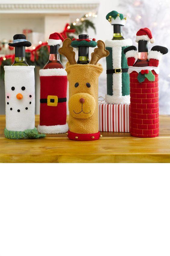 Garrafas decoradas para o natal - #garrafas #decoradas #natal #artesanato #feltro #reciclagem
