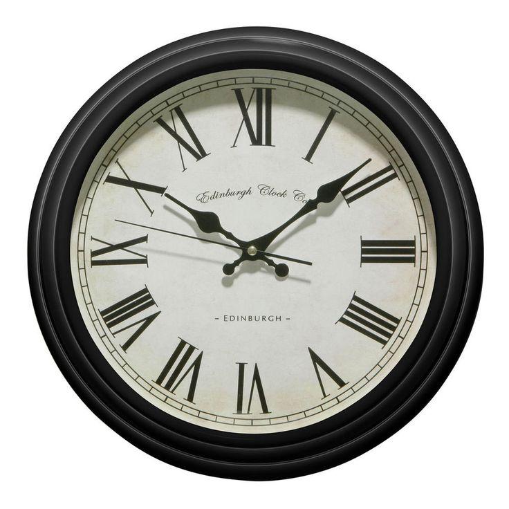 Retro Shabby Chic Black Wall Clock Vintage Style Edinburgh Clock Co Roman Facia in Home, Furniture & DIY, Clocks, Wall Clocks | eBay