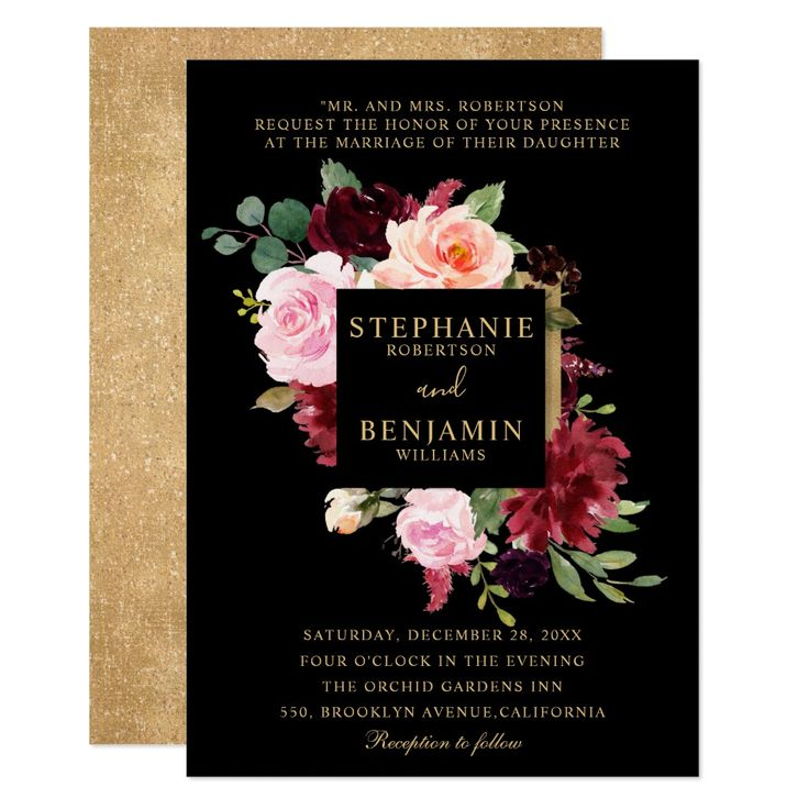 Burgundy Red Blush Floral Rustic Boho Wedding Invitation