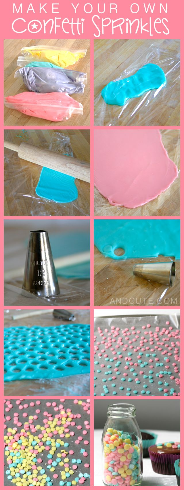 How to make Confetti Sprinkles @Holli Downs Burkart ...this might be cute for the party