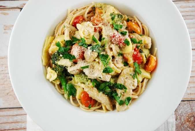 Artichoke Chicken Pasta - substitute what you can to make it SF or low in points.