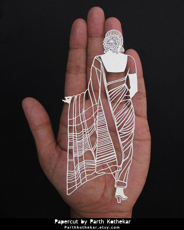 Papercut - indian - saree - india - outfit - marathi - style - Papercutting…