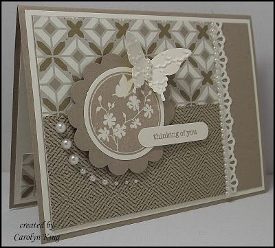 1/142013; Carolyn King at 'King's on Paddington' blog; Teeny Tiny Sentiments and Serene Silhouettes stamp sets; Crumb Cake and Very Vanilla