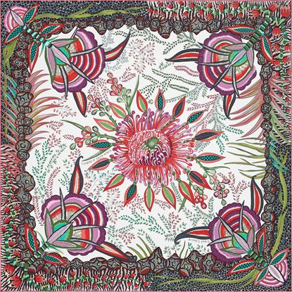 """Hermes """"flowers of Africa"""" scarf designed by Ardmore Artists. 100% silk twill scarf, hand-rolled (90 cm x 90 cm)"""