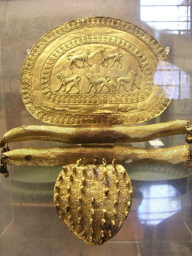 A piece of Etruscan gold jewelry. Gold jewelry was common during the time of the Etruscans in Roman history as they were a wealthy people.