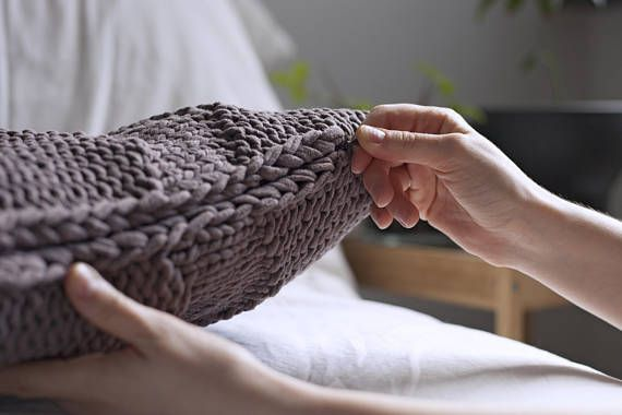 Knitted pillow case Hand knitted Brown cushion cover