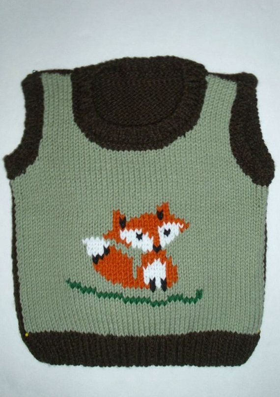 Baby FOX vest . Size 2T   3T . One of a kind by MarikaHandKnits