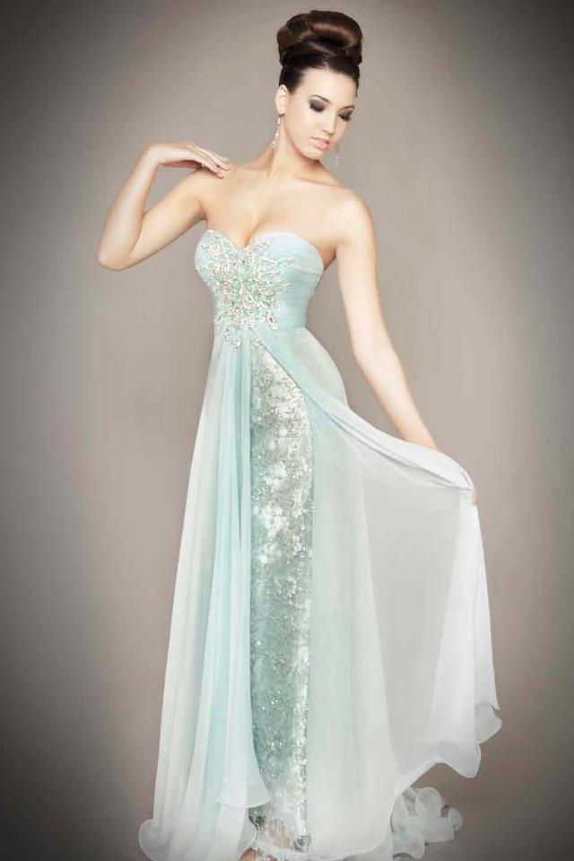 silver and light blue prom dress