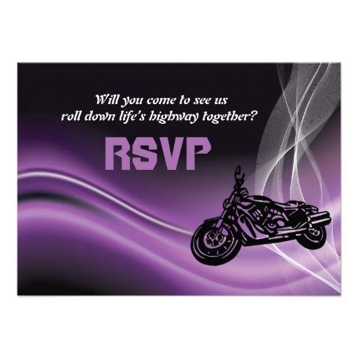 Purple road biker motorcycle personalized wedding RSVP reply card. #wedding #RSVP #bikerwedding #motorcyclewedding #purple