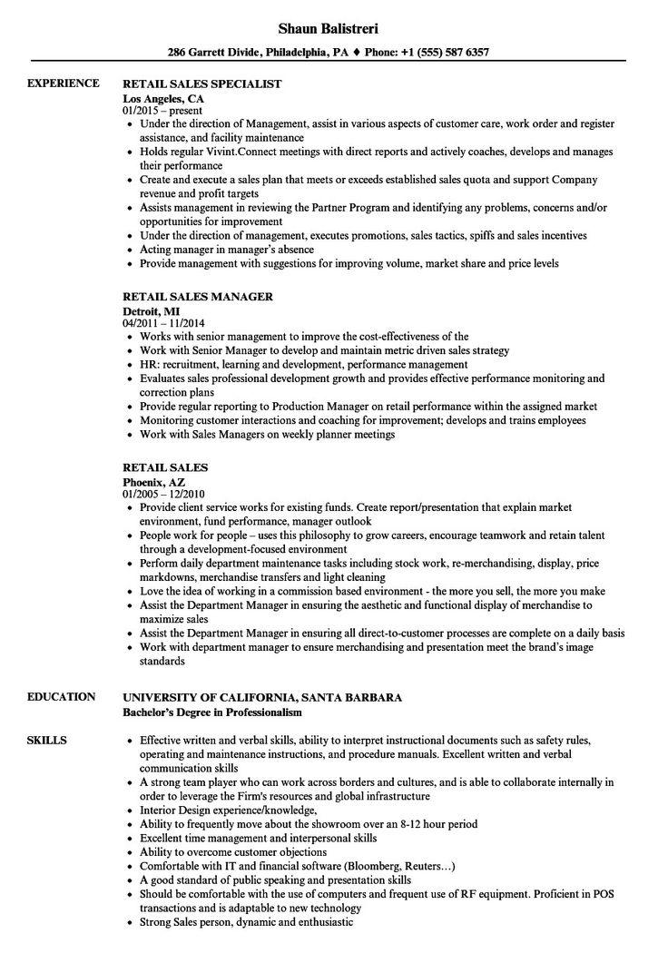 retail sales resume sample Wunderbar Retail Sales