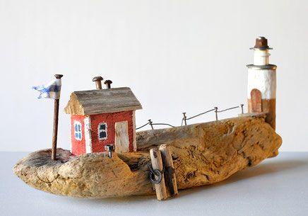 Treibholz Driftwood Art Kunst Nagel Schraube Draht Sand Strand Düne Dünen Wind Fahne Haus Zaun Steg