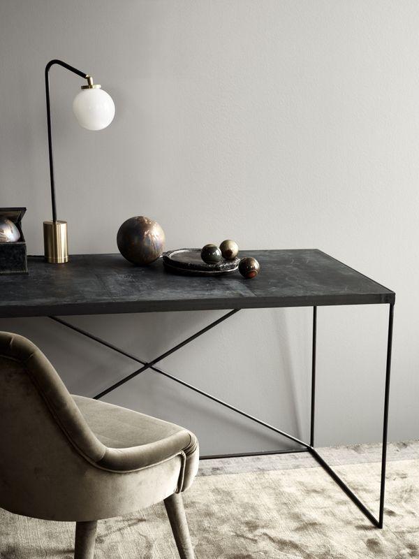 TDC: Rue Verte | Arrondissement Cph leather desk, Array Table lamp & Frisco velvet Chair