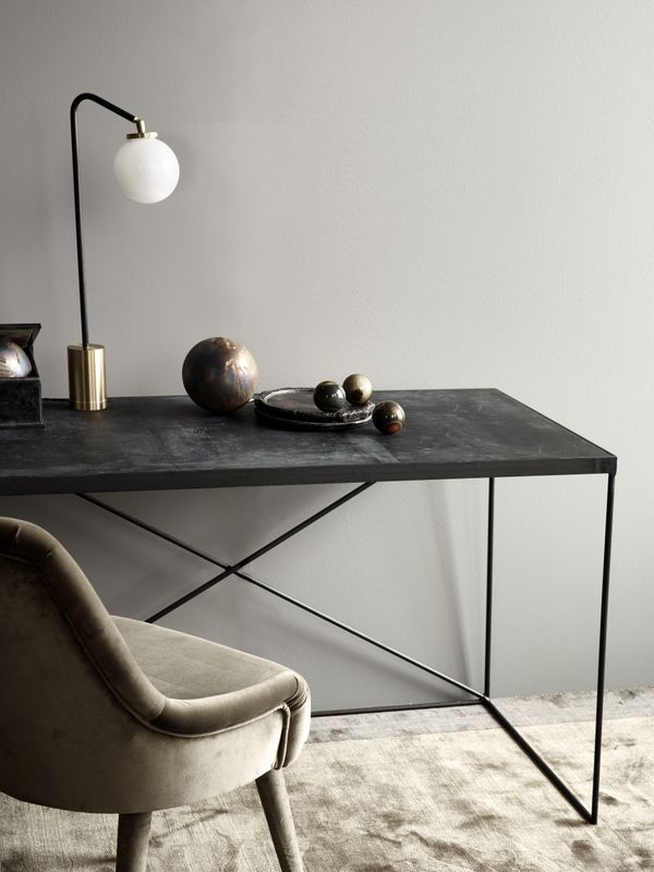 TDC: Rue Verte | Arrondissement Cph leather desk, Array Table lamp & Frisco velvet Chair