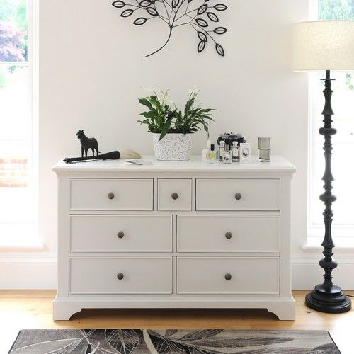 Ascot White 3 over 4 Drawer Chest (J855) with Free Delivery | The Cotswold Company