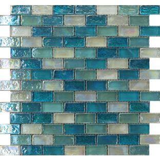 Quartz hammered aqua mosaic tiles 300 x 300mm from bathroom redesign Bathroom tiles ideas homebase