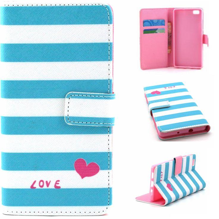 Синие полосы в форме сердца любовь дизайн искусственная кожа флип стенд бумажник сумка чехол для Huawei Ascend P8 облегченная новый горячая распродажа