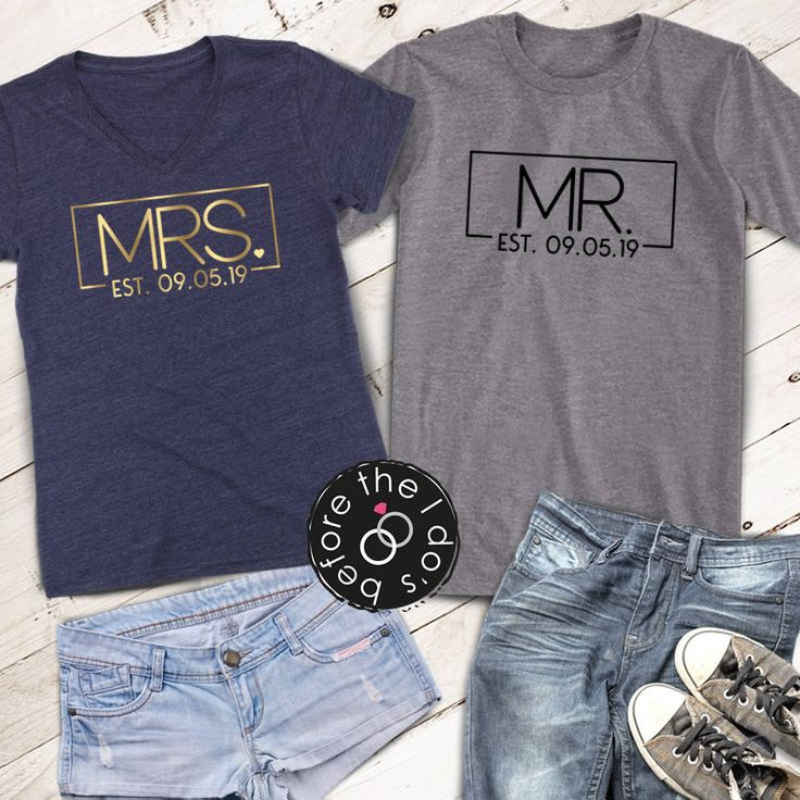Mr. and Mrs. {with Est. Date} Relaxed V-Neck and T-Shirt Set /// Honeymoon Shirts, Just Married Shirts, Couples Shirts | #1705-1495