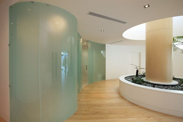 Feng shui inspired frosted glass partitioning.