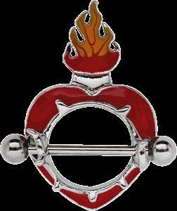 Piercing Schmuck Shop - Brust Piercingschmuck Schild Herz mit Flammen und Stab