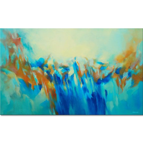 Grande peinture. 162 x 97 cm bleu vert orange peinture par Artoosh