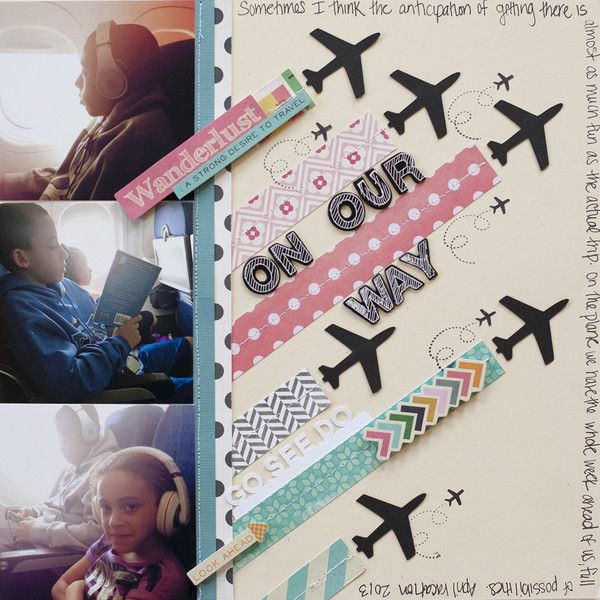 Inspired by Art | Scraptastic Club. 3 photos with awesome airplane embellishments