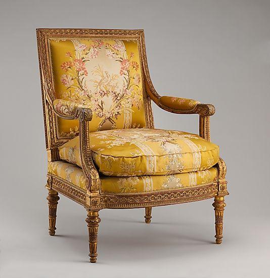 Armchair from Louis XVI's Salon des Jeux at Saint Cloud - Maker:Gilder: Louis-François Chatard (ca. 1749–1819)Date:1788Culture:French (Paris)Medium:Carved and gilded walnut; gold brocaded silk (not original)