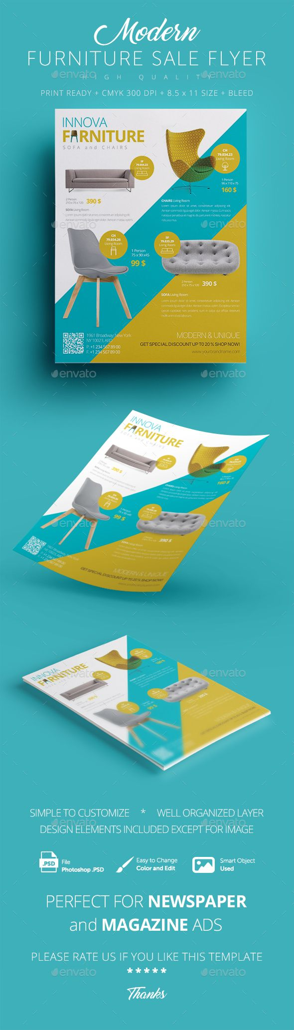 Furniture Sale Flyer Design Template - Commerce Flyers Template PSD. Download here: https://graphicriver.net/item/furniture-sale-flyer-/16984860?s_rank=16&ref=yinkira